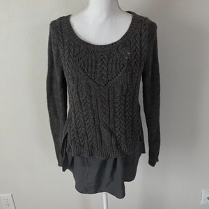 Anthropologie Moth Layered Sweater L Gray Knit